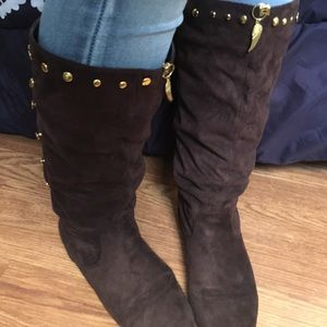 Vintage Gold Studded Brown Suede Boots